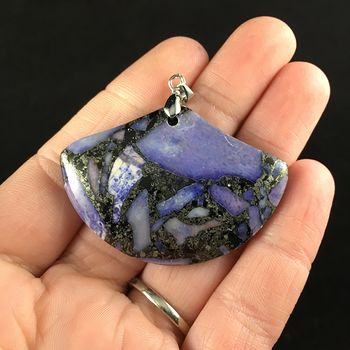 Fan Shaped Purple Turquoise and Pyrite Stone Jewelry Pendant #uWZ4PZesVSU