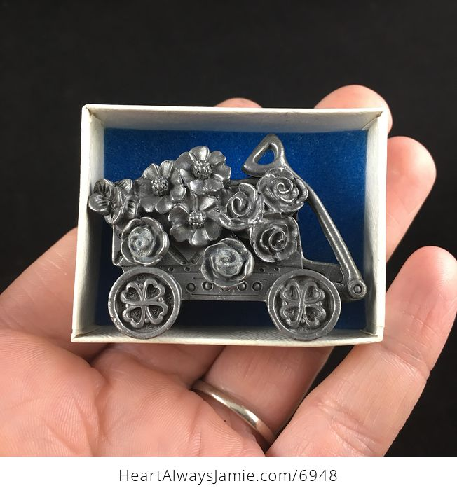 Flower and Garden Wagon Earrings Brooch Necklace and Trinket Jewelry Box Set Vintage Torino Pewter - #xqfFenKIghw-7
