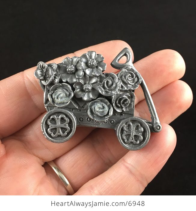 Flower and Garden Wagon Earrings Brooch Necklace and Trinket Jewelry Box Set Vintage Torino Pewter - #xqfFenKIghw-1