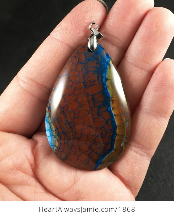Gorgeous Brown and Blue Dragon Veins Agate Stone Pendant - #GMREK63WBEc-1