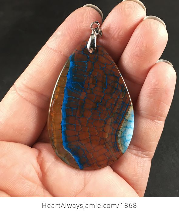 Gorgeous Brown and Blue Dragon Veins Agate Stone Pendant Necklace - #GMREK63WBEc-2