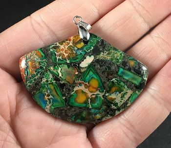 Gorgeous Fan Shaped Green Blue and Orange Chalcopyrite and Sea Sediment Jasper Stone Pendant #Nf6krTV8fpE