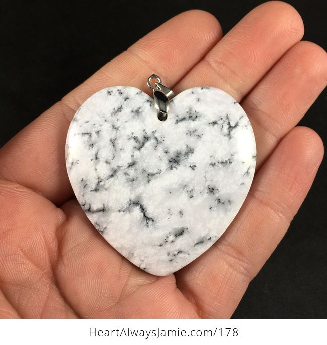 Gorgeous Heart Shaped African Dendrite Moss Opal Stone Pendant - #Ak5XZ7esiOY-1