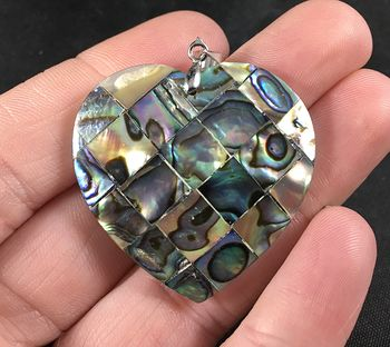 Gorgeous Heart Shaped Colorful Abalone Shell Diamond Patterned Pendant #OOwfl4Y5vD0