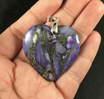Gorgeous Heart Shaped Matrix Pyrite and Purple Stone Pendant #jHuZCrU50aM
