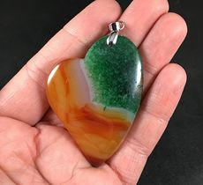 Gorgeous Heart Shaped Orange and Green Druzy Agate Stone Pendant #wXMAU7oooTM