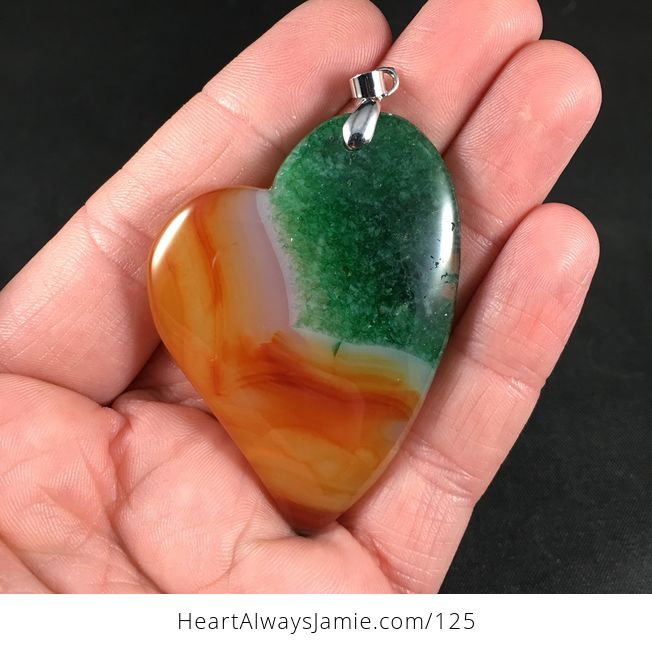 Gorgeous Heart Shaped Orange and Green Druzy Agate Stone Pendant - #wXMAU7oooTM-1