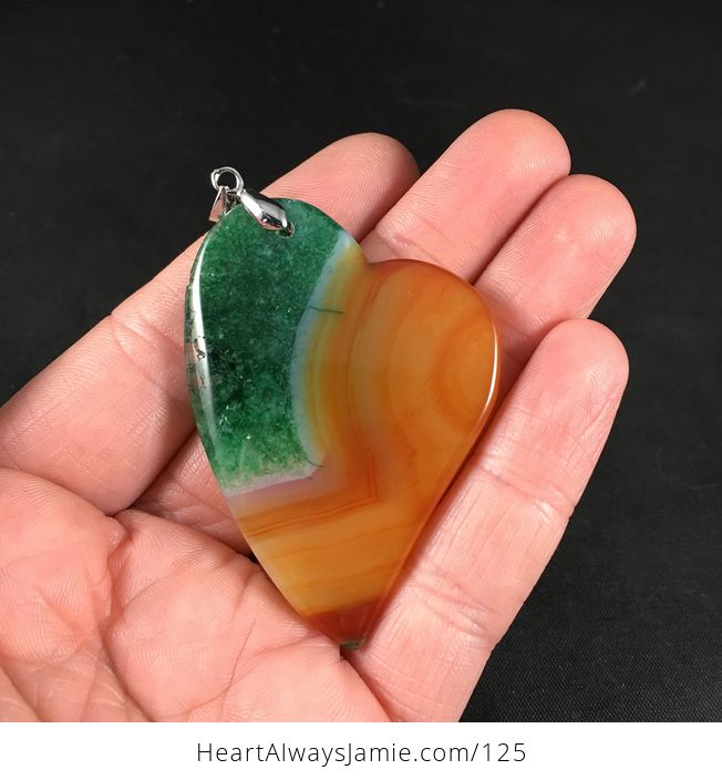 Gorgeous Heart Shaped Orange and Green Druzy Agate Stone Pendant Necklace - #wXMAU7oooTM-2