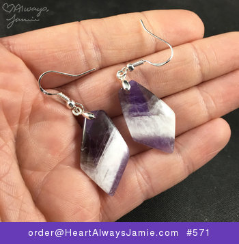 Gorgeous Purple and White Natural Chevron Amethyst Stone Earrings with 925 Sterling Silver Hooks #ZnLA4k6aUVs