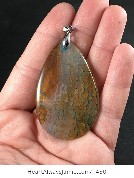 Gorgeous Semi Transparent Orange Brown and Blue Dragon Veins Agate Stone Pendant - #BBWQvdIyCec-1