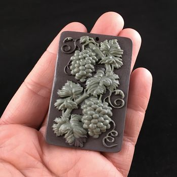 Grapes and Leaf Carved Ribbon Jasper Stone Pendant Jewelry #0vpJekThiHs