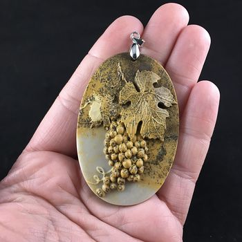 Grapes and Leaf Carved Ribbon Jasper Stone Pendant Jewelry #na3mXf2JFus