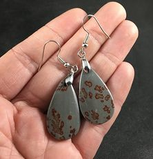 Gray and Brown Chohua Jasper Stone Earrings with Hypo Allergenic Stainless Steel Hooks #FIfZBzaDV4o