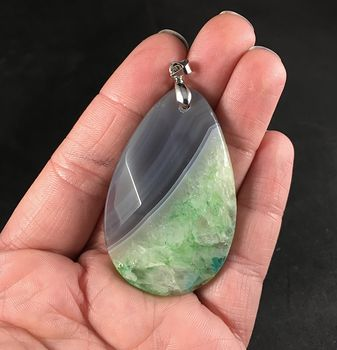 Gray and Green Druzy Stone Pendant #p0IxNCNg7Ik