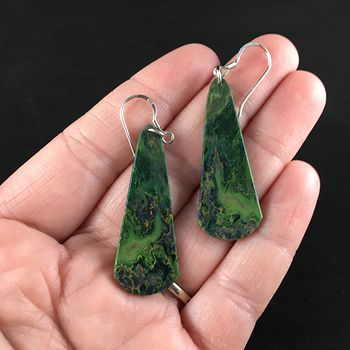 Green African Jade Stone Jewelry Earrings #I3O3SnhpFLA