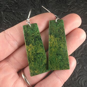 Green African Jade Stone Jewelry Earrings #KmJxt83wi14