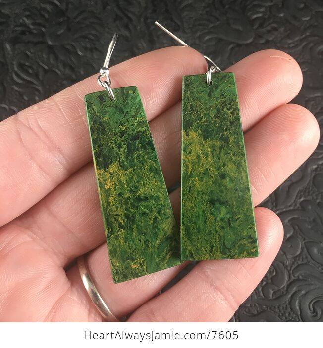 Green African Jade Stone Jewelry Earrings - #KmJxt83wi14-1