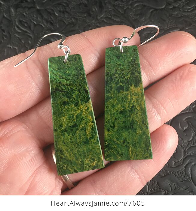 Green African Jade Stone Jewelry Earrings - #KmJxt83wi14-2