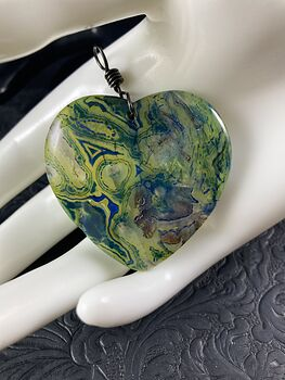 Green and Blue Dendrite Heart Stone Jewelry Agate Pendant #hMwEJGL6NYw