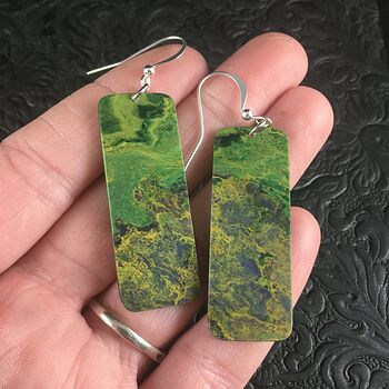 Green and Yellow Recangle African Jade Stone Jewelry Earrings #8YzBRBbo1nQ