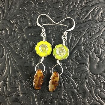 Green Apple Colored Glass Hawaiian Flower and Picasso Styled Leaf Earrings with Copper Wire #sUKm57PMqcM