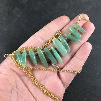 Green Aventurine Stone Bar and Gold Chain Pendant Necklace #7G5LsbsThjw