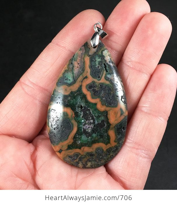 Green Brown and Orange Crazy Lace Agate Stone Pendant - #Jf37wuahftM-1