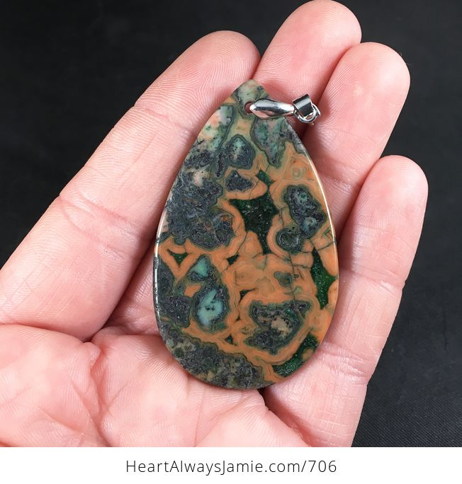 Green Brown and Orange Crazy Lace Agate Stone Pendant Necklace - #Jf37wuahftM-2
