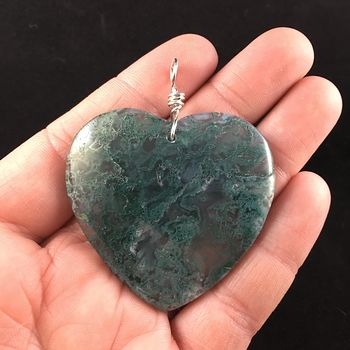 Green Heart Shaped Moss Agate Stone Jewelry Pendant #uCOIeplNDCs