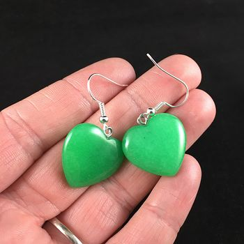 Green Heart Stone Jewelry Earrings #BPLmPC8bwTY