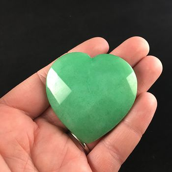 Green Jade Stone Faceted Heart Shaped Cabochon #rADdnwbXuWk