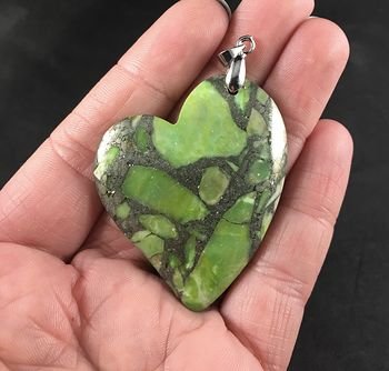 Green Matrix Pyrite Heart Shaped Stone Pendant #I11vQfmtKi4