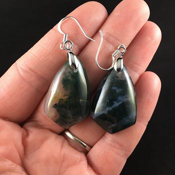 Green Moss Agate Stone Jewelry Earrings #wtsuDgzP64o