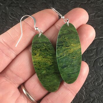 Green Oval African Jade Stone Jewelry Earrings #BMiGMtd9644