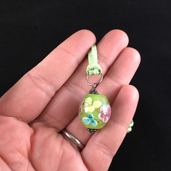 Green Spring Time Floral Lampwork Glass Jewelry Pendant Necklace #tFowyjYN9Qg