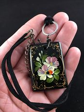 Hand Painted Ladybug and Flower Black Glass Jewelry Pendant Necklace #h6AyPSf7Z4I