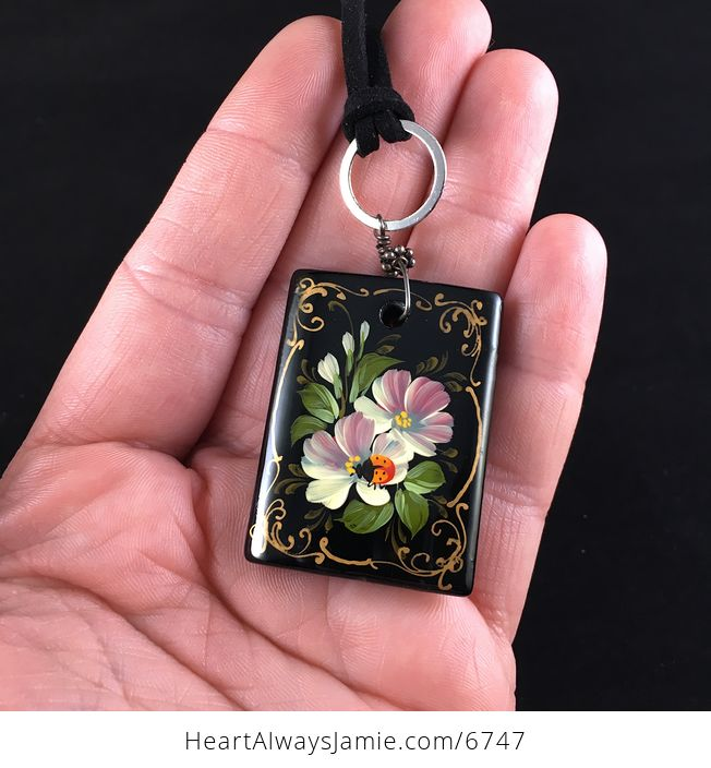 Hand Painted Ladybug and Flower Black Glass Jewelry Pendant Necklace - #h6AyPSf7Z4I-2