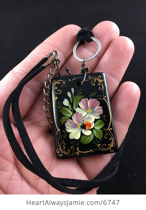 Hand Painted Ladybug and Flower Black Glass Jewelry Pendant Necklace - #h6AyPSf7Z4I-1