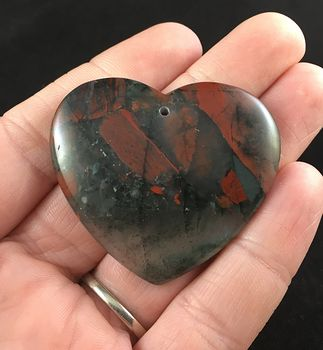 Heart Shaped African Bloodstone Jewelry Pendant #sVns435gcJc