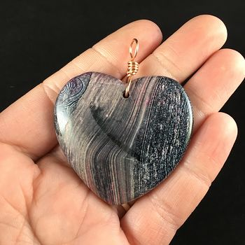 Heart Shaped Black and Pink Agate Stone Jewelry Pendant #URPy0D0fzQk