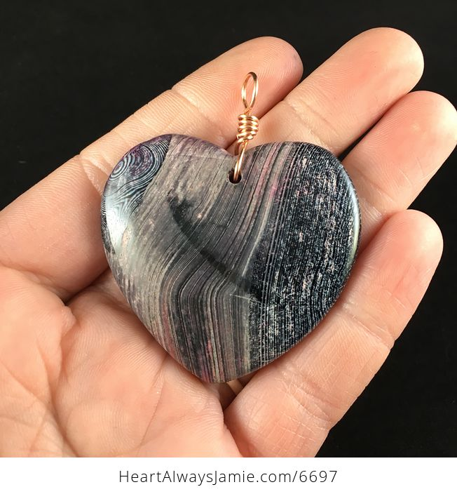 Heart Shaped Black and Pink Agate Stone Jewelry Pendant - #URPy0D0fzQk-1
