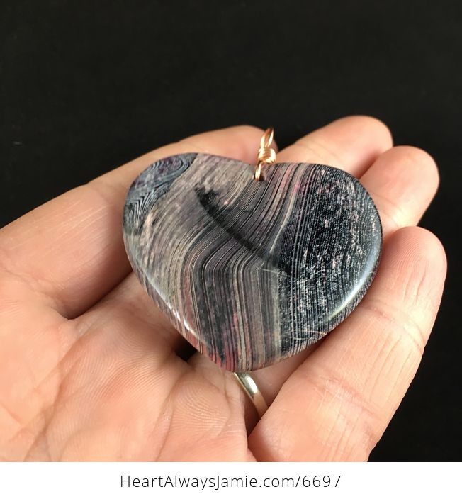 Heart Shaped Black and Pink Agate Stone Jewelry Pendant - #URPy0D0fzQk-2