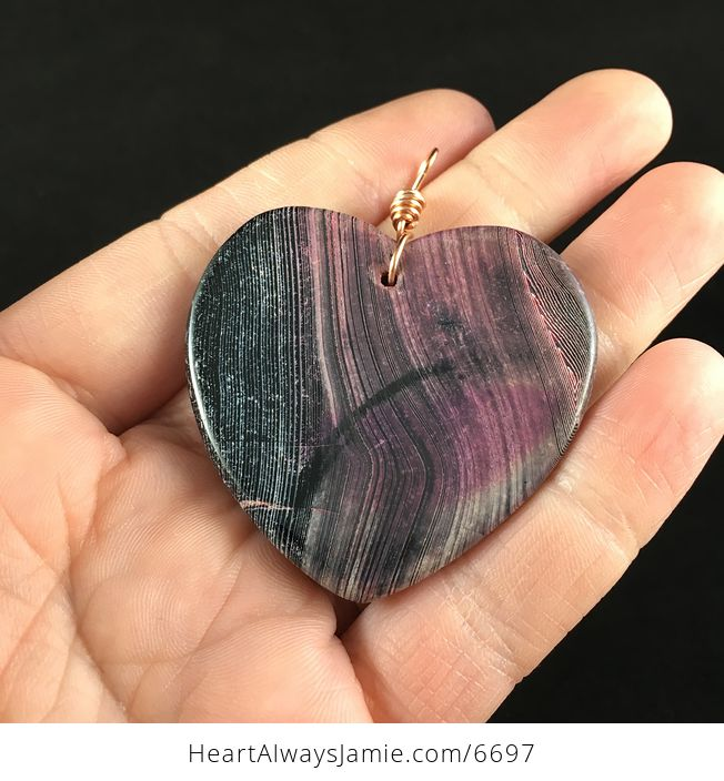 Heart Shaped Black and Pink Agate Stone Jewelry Pendant - #URPy0D0fzQk-6