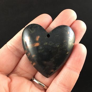 Heart Shaped Black Plum Blossom Jasper Stone Jewelry Pendant #K5sInm9jKdI