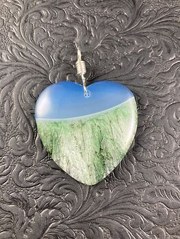 Heart Shaped Blue and Green Druzy Agate Stone Jewelry Pendant #8iacyGSUxEU
