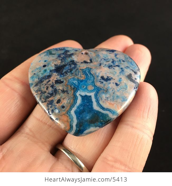 Heart Shaped Blue Crazy Lace Agate Stone Jewelry Pendant - #igGCUSng6aI-2