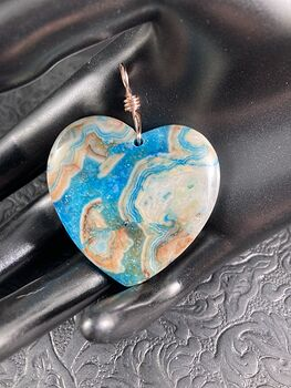 Heart Shaped Blue Druzy Crazy Lace Agate Stone Jewelry Pendant #8DH7hrD5yE8