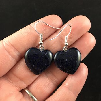 Heart Shaped Blue Goldstone Jewelry Earrings #5QJxytCw61Y
