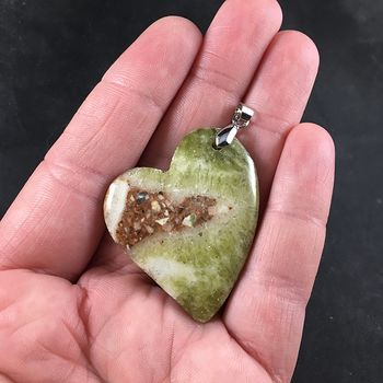 Heart Shaped Brown and Green Lace Chalcedony Stone Pendant #wl8ft44neg4
