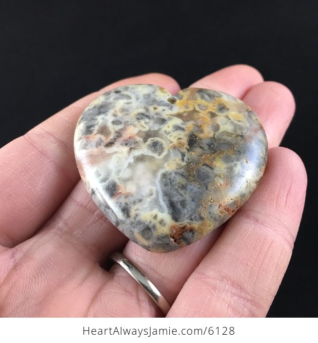 Heart Shaped Crazy Lace Agate Stone Jewelry Pendant - #BpsksJ2Dmvw-2